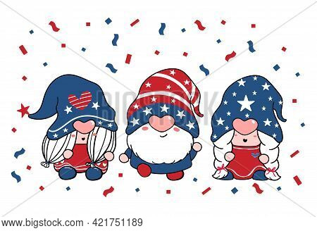 Cute Three Trio Gnome Independence Day, 4th Of July, Gnome Patriotic In Red And Blue Cartoon Illustr