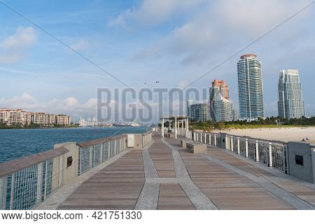 Miami Beach Boardwalk Along Government Cut Water Channel At South Pointe In Florida, Usa