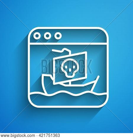White Line Internet Piracy Icon Isolated On Blue Background. Online Piracy. Cyberspace Crime With Fi