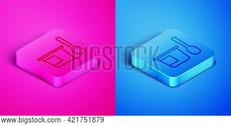 Isometric Line Yogurt Container With Spoon Icon Isolated On Pink And Blue Background. Yogurt In Plas