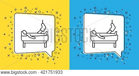 Set Line Patient With Broken Leg Is In The Hospital Icon Isolated On Yellow And Blue Background. Hos