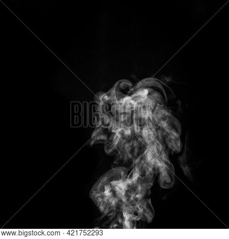 Curly White Steam, Fog Or Smoke Isolated Transparent Special Effect On Black Background. Abstract Mi
