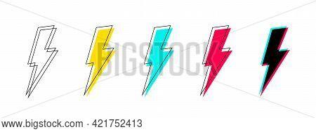 Lightning Icon Set. Lightning Icon Collection. Lightning In Flat Style On White Background. Power Ic
