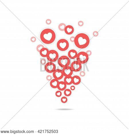 Flying Likes. Flat Template With Red Flying Likes For Decoration Design. Social Mdia Concept. Bloggi