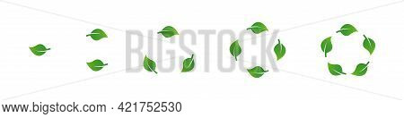 Green Leaves Recycling Icons Set. Leaves Set. Green Leaves Shapes Set. Recycling Eco Symbol. Eco Sym