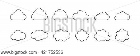 Black Line Clouds Set In Flat Style. Different Cloud Shapes. Clouds Collection. White Background. Cl