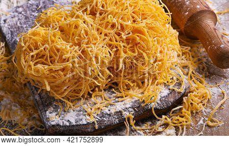 Tagliatelle Pasta Is Thin. Traditional Italian Named Angel Hair , Capellini Dangels. Italian Egg Pas