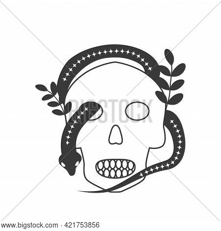 Esoteric Symbol Skull, Alchemy And Witchcraft Art. Mystical And Magical Design