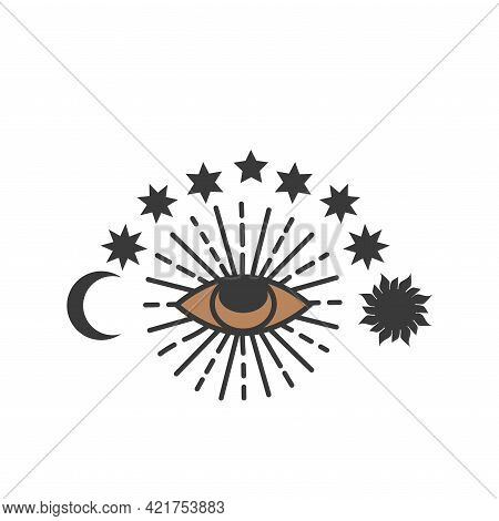 Esoteric Symbols, Alchemy And Witchcraft Art With Hands, Moon, Eye And Other Magic Elements. Esoteri