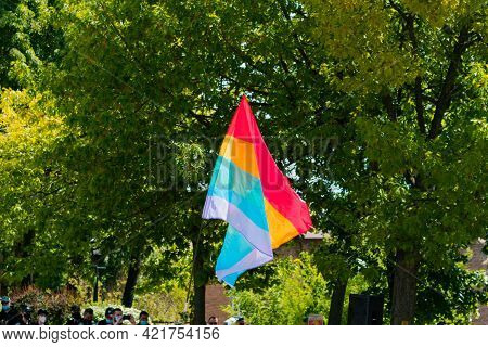 Lgbt Flag Waving In The City's Park. Protest. Support. Supportive. Equality. Human Rights. Solidarit