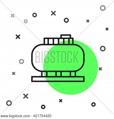 Black Line Oil Tank Storage Icon Isolated On White Background. Vessel Tank For Oil And Gas Industria