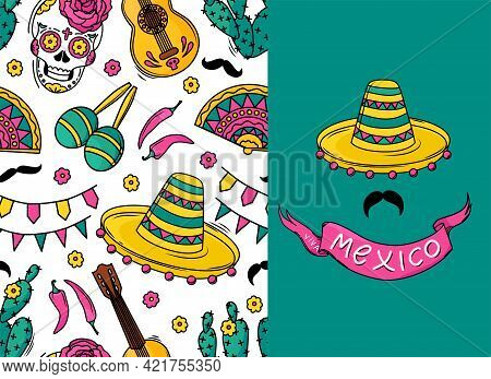 Mexican Seamless Vector Pattern With Sugar Skulls, Flowers, Guitar, Cacti, Mustache On White Backgro