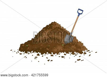 Peat Organic Soil Heap With A Shovel. Fertile Soil For Growing Garden Crops, Composting Process Of F