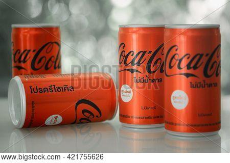 Bangkok, Thailand - May 26, 2021 : Mini Can Of New Coca-cola