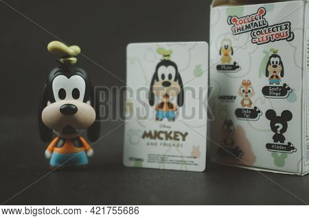 Samut Prakan, Thailand - May 26, 2021 : Cute Figurine Goofy Collections From Blind Box In Miniso Sho