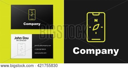 Logotype Line Compass Screen Apps On Smartphone For Navigation Icon Isolated On Black Background. Ap