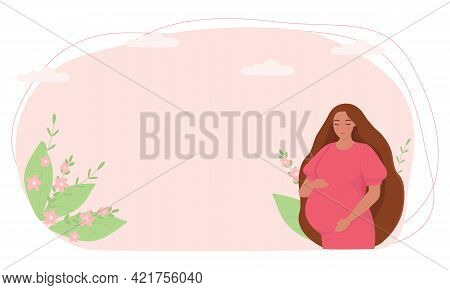 A Pregnant Woman On A Background Of Leaves. The Concept Of Health, Motherhood, And Preparation For C