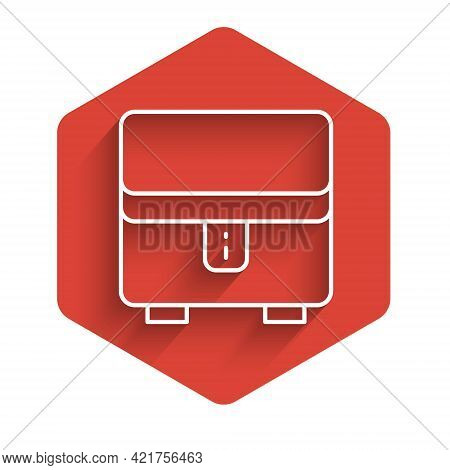 White Line Jewelry Box Icon Isolated With Long Shadow Background. Casket With Jewelry. Red Hexagon B