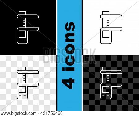 Set Line Calliper Or Caliper And Scale Icon Isolated On Black And White, Transparent Background. Pre