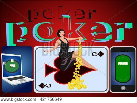 Game Of Poker Illustration Of Playing Poker On Background With Card Symbol