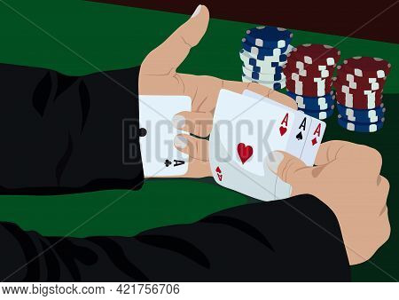 Ace Up My Sleeve. A Businessman In A Suit With A Card In His Sleeve.