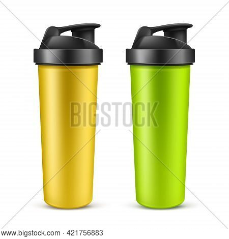 Vector Realistic 3d Green And Yellow Empty Drink Shaker For Sports Nutrition, Whey Protein Or Gainer