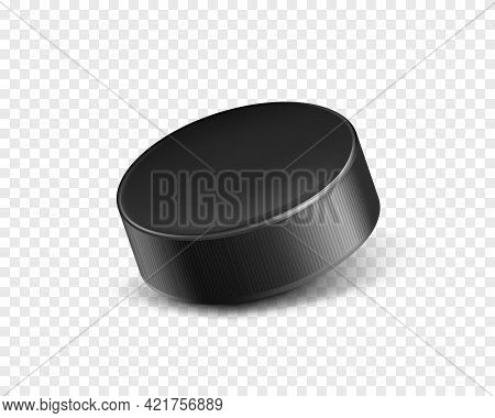 Vector 3d Realistic Black Rubber Puck Closeup For Play Ice Hockey Isolated On Transparent Background