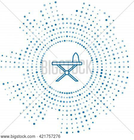 Blue Line Electric Iron And Ironing Board Icon Isolated On White Background. Steam Iron. Abstract Ci