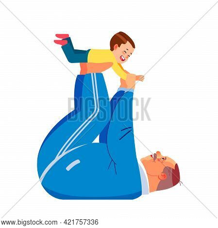 Happy Grandfather And Little Boy Doing Partner Yoga Flying Pose, Exercising Together At Home. Kid Ma
