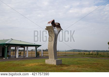 Trincomalee Airport, Sri Lanka - August 25, 2018: Eagle Statue In Front Of Terminal Building At Trin