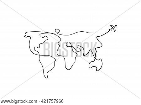 World Map One Line Drawing Isolated Vector. Continuous Line World Map With Plane. Travel Concept One
