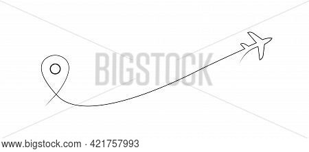 Plane With Pointerone Line Drawing Travel Concept Vector. Vector Line Art. Continuous One Line Art P
