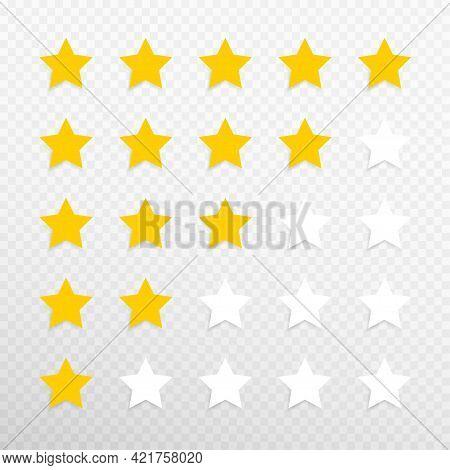 Five Stars Rating Concept Vector Illustration. Customer Feedback Concept Signs, Symbols. Transparent
