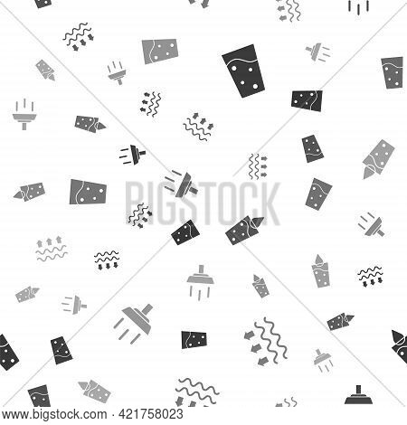 Set Glass With Water, Waves Of And Evaporation, And Shower On Seamless Pattern. Vector