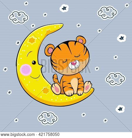 A Cute Cartoon Tiger With Closed Eyes Sleeps On The Moon. Vector Illustration. A Beautiful Kitten. L