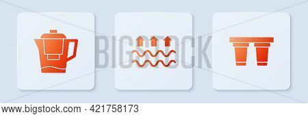 Set Waves Of Water And Evaporation, Water Jug With Filter And . White Square Button. Vector