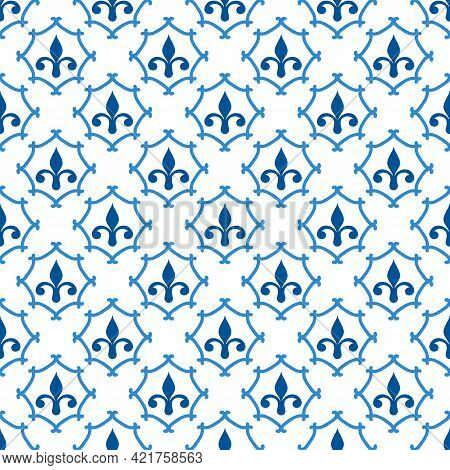 Ceramic Tile Pattern Made In Mediterranean Style Inspired By Portuguese, Sicilian And Spanish Tile T