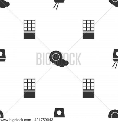 Set Asian Noodles And Chopsticks, Scrambled Eggs And Chocolate Bar On Seamless Pattern. Vector
