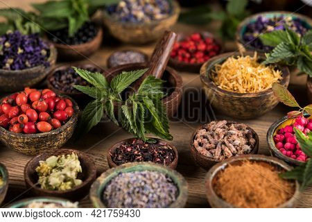 Natural remedy,Herbal medicine and wooden table background