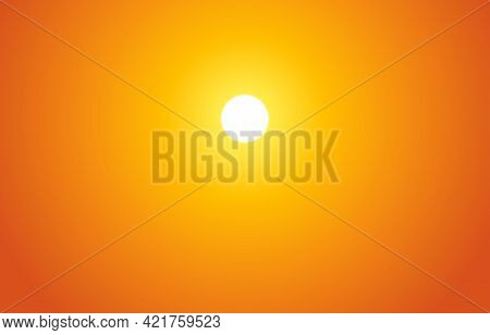 Bright Sunset On The Sky With Yellow, Orange, Red Gradient Colors. Golden Sunset Or Sunrise. Orange