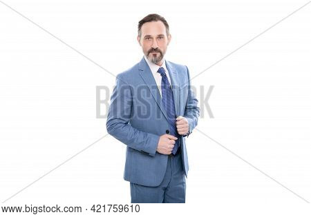 Mature Realtor With Grizzled Hair In Suit Isolated On White, Formalwear