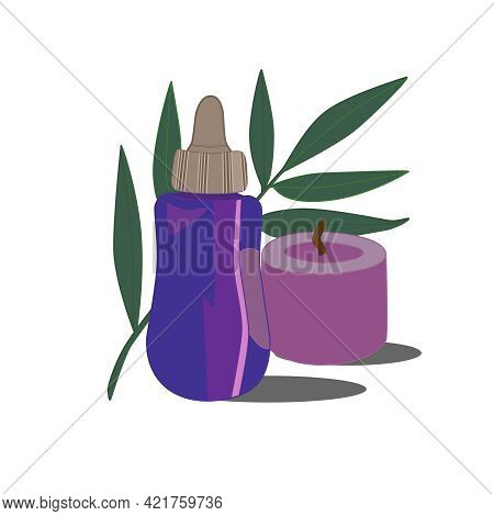 Spa Illustration. Cosmetic Product, Scented Candle On The Background Of A Green Branch Of A Plant. V