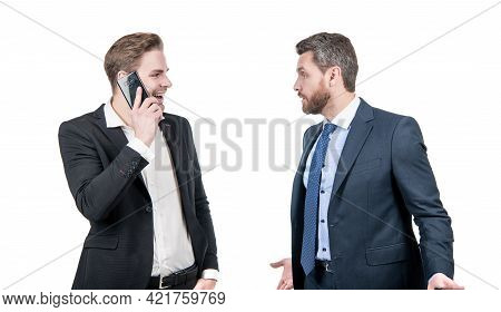 Angry Boss Arguing With Smiling Employee Speaking On Phone Isolated On White, Conflict