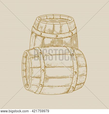 Wooden Barrels In The Style Of Old Engraving. Vintage Monochrome Wooden Barrels.