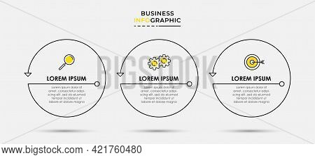 Vector Infographic Thin Line Design Business Template With Icons And 3 Options Or Steps. Can Be Used