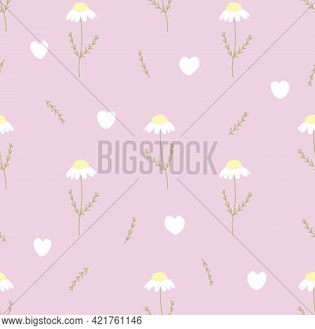 Vector Seamless Pattern With Chamomile, Petals And Hearts On Pink Background. For Decoration, Invita