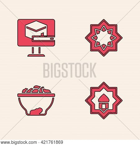 Set Muslim Mosque, Kaaba Mosque, Octagonal Star And Date Fruit In Bowl Icon. Vector