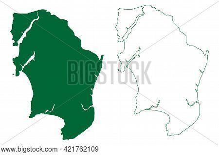 Mumbai Suburban District (maharashtra State, Konkan Division, Republic Of India) Map Vector Illustra