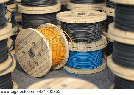 Wire electric cable on wooden coil or spool isolated on warehouse. 3d illustration