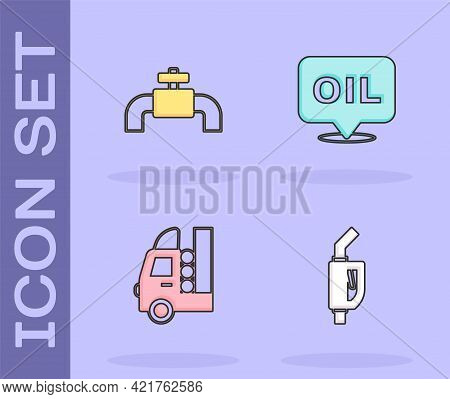 Set Gasoline Pump Nozzle, Metallic Pipes And Valve, Tank For Vehicle And Word Oil Icon. Vector